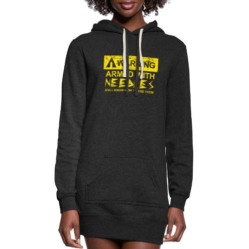WARNING Armed With Needles - Women's Hoodie Dress