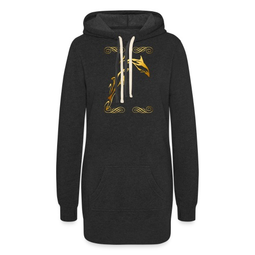 Two Gold Dolphins with frilly frames - Women's Hoodie Dress