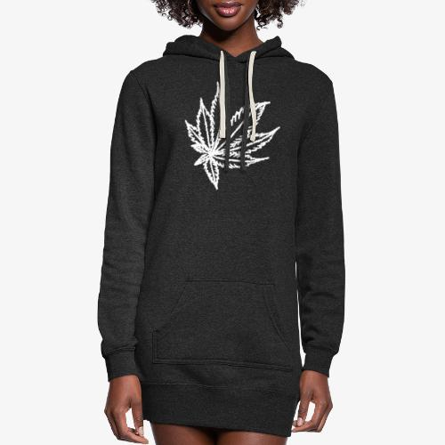 white leaf w/myceliaX.com logo - Women's Hoodie Dress