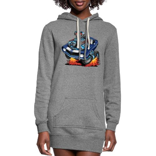 Classic Sixties American Muscle Car Cartoon - Women's Hoodie Dress