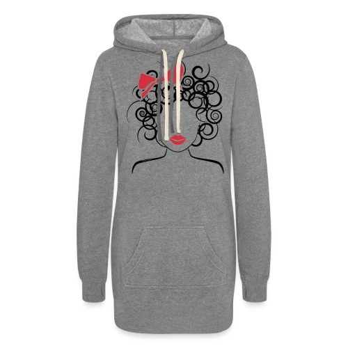 Curly Girl with Red Bow_Global Couture_logo T-Shir - Women's Hoodie Dress