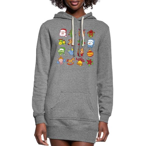 All traditional Christmas characters and symbols - Women's Hoodie Dress