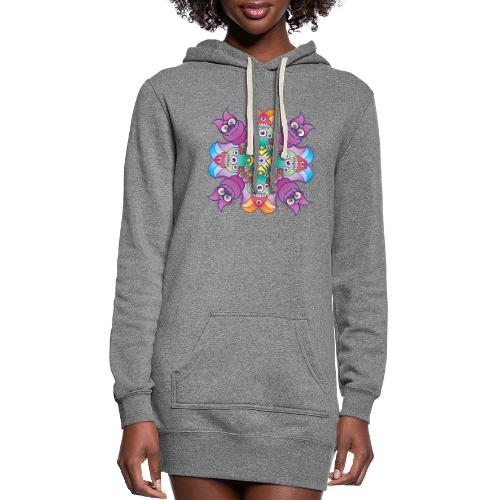 Halloween creepies posing for a colorful pattern - Women's Hoodie Dress