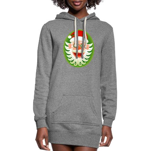 Smiling Christmas Santa Claus in Hipster style - Women's Hoodie Dress