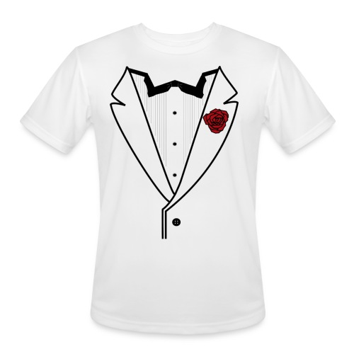 Tuxedo w/Black Lined Lapel - Men's Moisture Wicking Performance T-Shirt