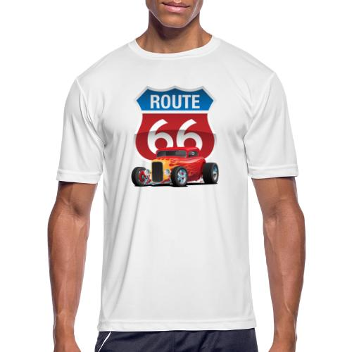 Route 66 Sign with Classic American Red Hotrod - Men's Moisture Wicking Performance T-Shirt