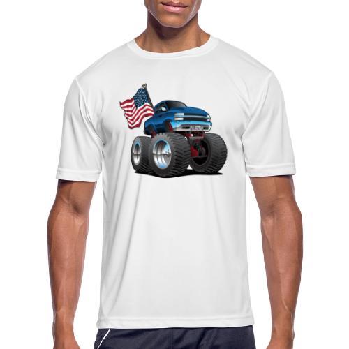 Monster Pickup Truck with USA Flag Cartoon - Men's Moisture Wicking Performance T-Shirt