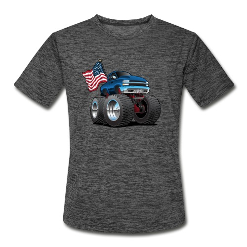 Monster Pickup Truck with USA Flag Cartoon - Men's Moisture Wicking Performance T-Shirt