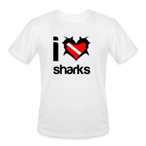 I Love Sharks - Men's Moisture Wicking Performance T-Shirt