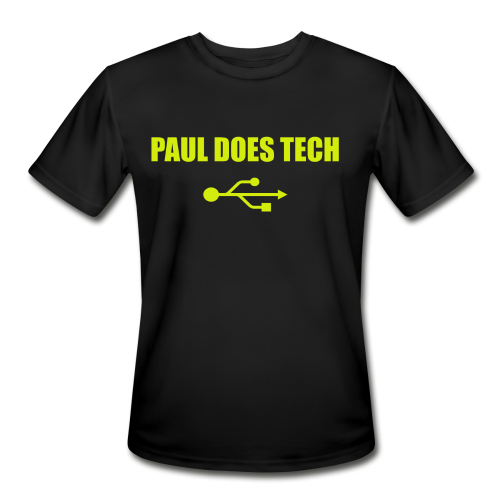 Paul Does Tech Yellow Logo With USB (MERCH) - Men's Moisture Wicking Performance T-Shirt