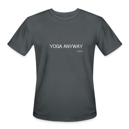 YOGA WHITE font - Men's Moisture Wicking Performance T-Shirt