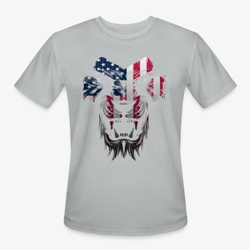 American Flag Lion Shirt - Men's Moisture Wicking Performance T-Shirt