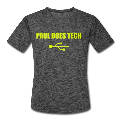 Paul Does Tech Logo Yellow With USB (BS) - Men's Moisture Wicking Performance T-Shirt