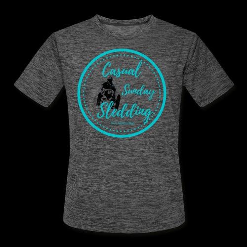 Casual Sunday Sledding -Teal - Men's Moisture Wicking Performance T-Shirt