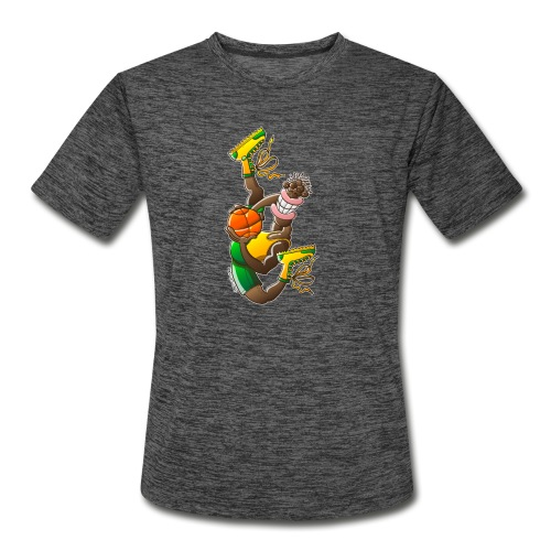 Acrobatic basketball player performing a high jump - Men's Moisture Wicking Performance T-Shirt