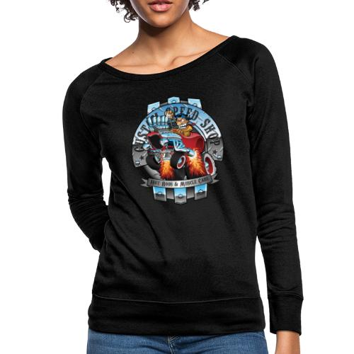 Custom Speed Shop Hot Rods and Muscle Cars Illustr - Women's Crewneck Sweatshirt