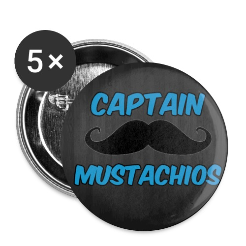 Captain Mustachios Logo For Spreadshirt Pin jpg - Buttons small 1'' (5-pack)