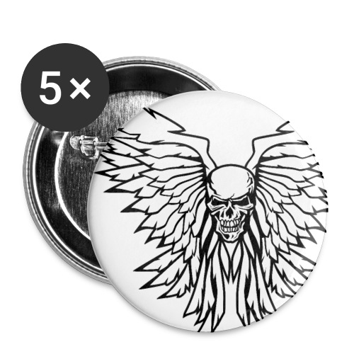 Classic Old School Skull Wings Illustration - Small Buttons
