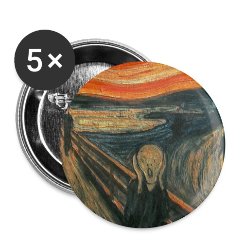 The Scream (Textured) by Edvard Munch - Buttons small 1'' (5-pack)