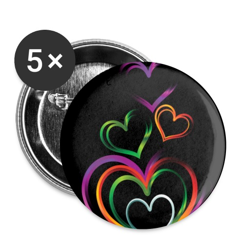 background with glossy rainbow heart f1csd65u L - Small Buttons