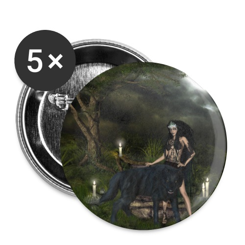 Awesome black wolf with wonderful dark fairy - Small Buttons