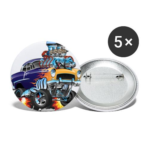 Classic Fifties Hot Rod Muscle Car Cartoon - Buttons small 1'' (5-pack)