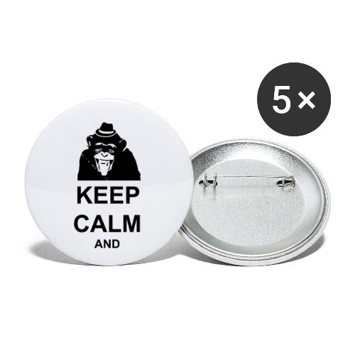 KEEP CALM MONKEY CUSTOM TEXT - Buttons small 1'' (5-pack)