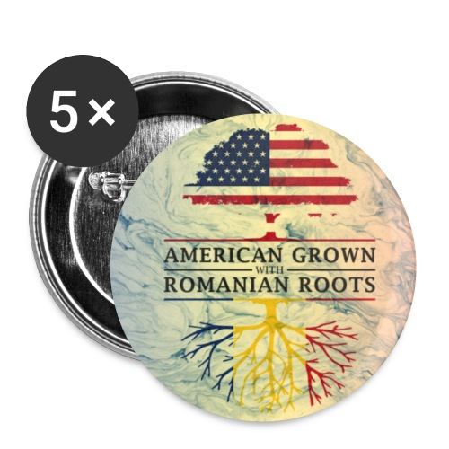American Grown with Romanian Roots Marble Style Design - Small Buttons