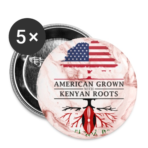 American Grown with Kenyan Roots Marble Style Design - Small Buttons