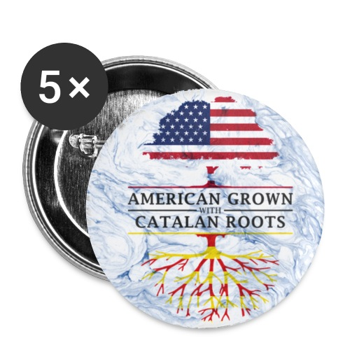 American Grown with Catalan Roots Marble Style Design - Small Buttons