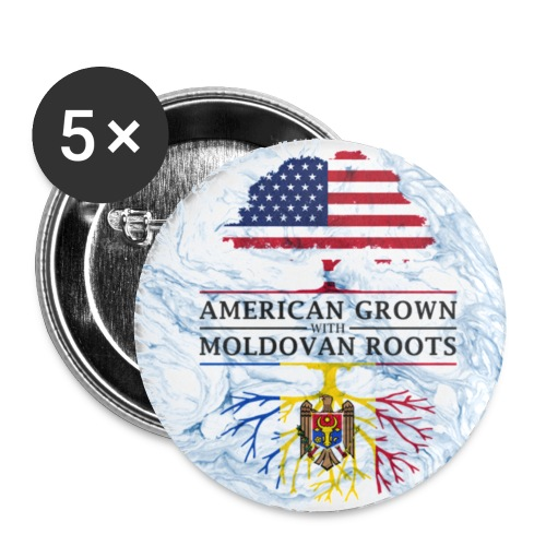American Grown with Moldovan Roots Marble Style Design - Small Buttons