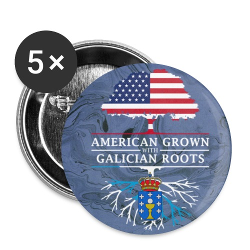 American Grown with Galician Roots Marble Style Design - Small Buttons