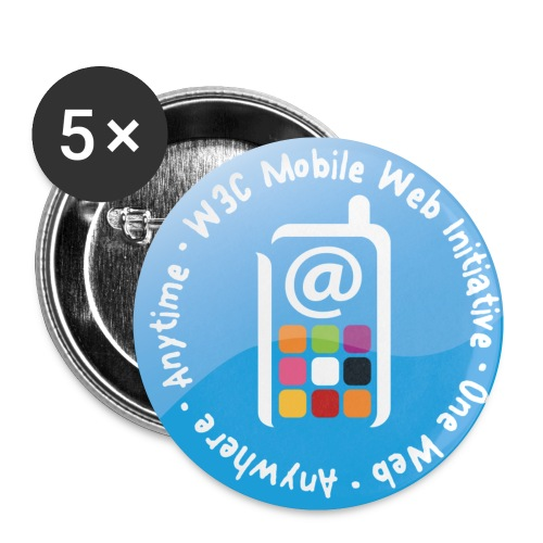 badge mobile web initiative blue - Buttons small 1'' (5-pack)
