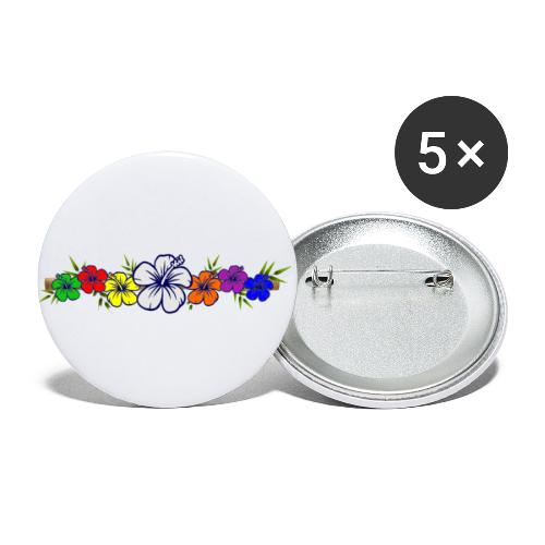 Colorful Hibiscus Flowers and Bamboo Shoot - Buttons small 1'' (5-pack)