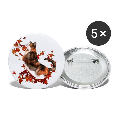 Autumn Cat - cat playing with autumn leaves - Buttons small 1'' (5-pack)