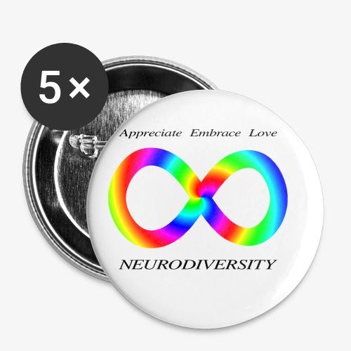 Embrace Neurodiversity with Swirl Rainbow - Buttons small 1'' (5-pack)