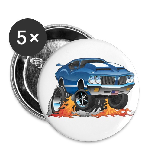 Classic American Muscle Car Hot Rod Cartoon - Small Buttons