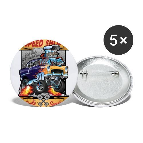 Speed Shop Hot Rod Muscle Car Cartoon Illustration - Buttons small 1'' (5-pack)