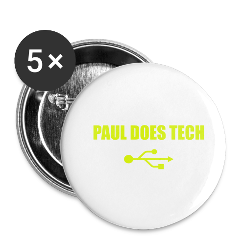 Paul Does Tech Yellow Logo With USB (MERCH) - Buttons small 1'' (5-pack)
