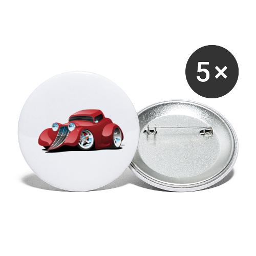 Red Hot Rod Restomod Custom Coupe Cartoon - Buttons small 1'' (5-pack)