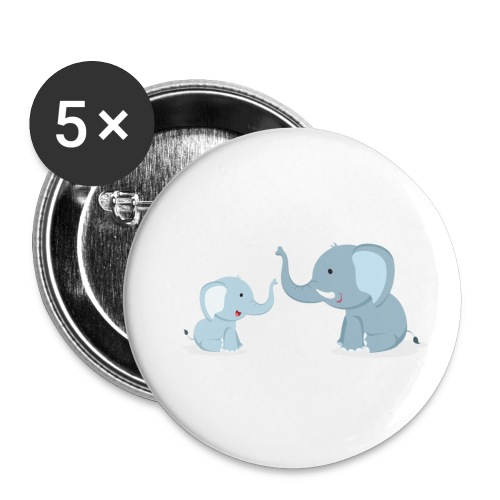 Father and Baby Son Elephant - Buttons small 1'' (5-pack)