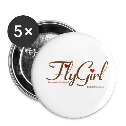 FlyGirlTextGray jpg - Buttons small 1'' (5-pack)