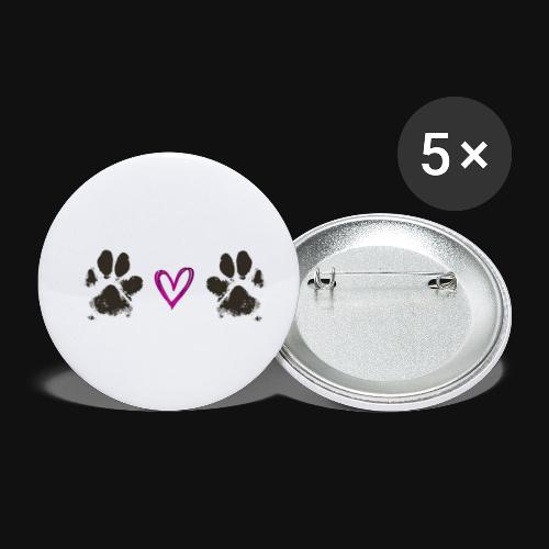 Paw Love black - Buttons small 1'' (5-pack)