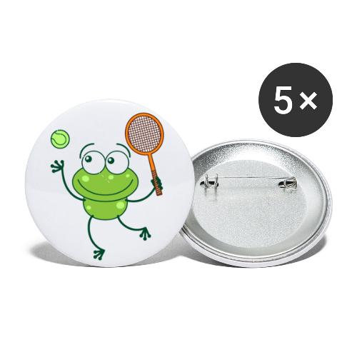Cute frog preparing a serve shot in a tennis match - Buttons small 1'' (5-pack)