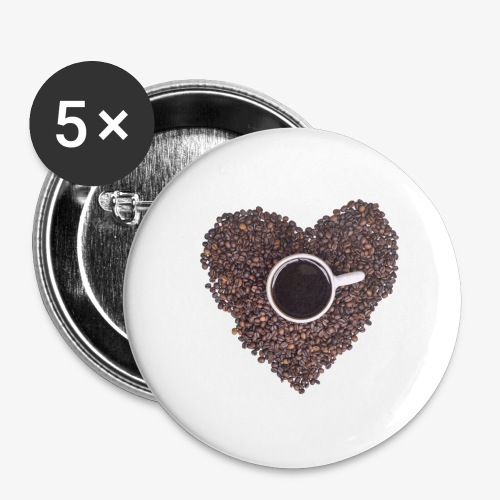 I Heart Coffee Black/White Mug - Buttons small 1'' (5-pack)