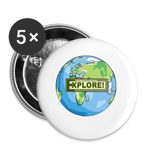 EXPLORE! Logo on the Earth - Small Buttons