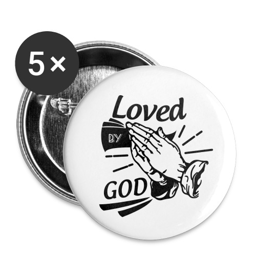 Loved By God (Black Letters) - Buttons small 1'' (5-pack)