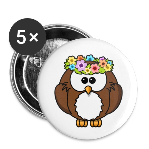 Owl With Flowers On Head T-Shirt - Buttons small 1'' (5-pack)