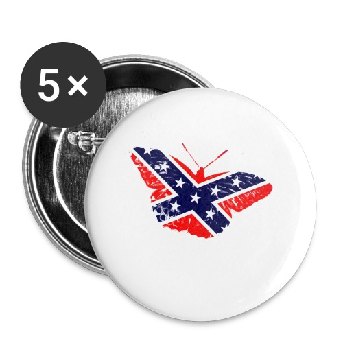 butterfly - confederate flag - Buttons small 1'' (5-pack)