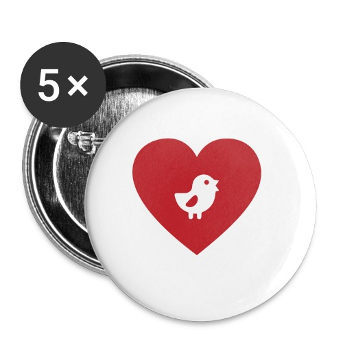 Heart Chick - Buttons small 1'' (5-pack)